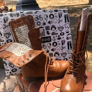 Combat boots with lace design inside!
